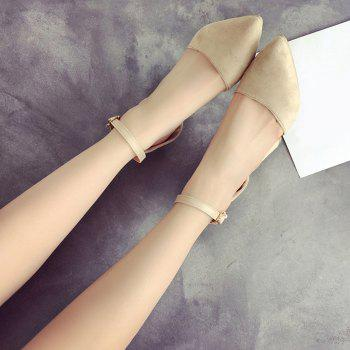 Ankle Strap Chunky Heel Pumps - BEIGE 37