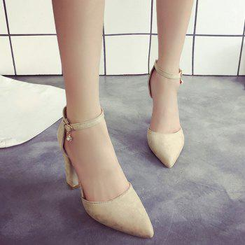 Ankle Strap Chunky Heel Pumps - BEIGE 38
