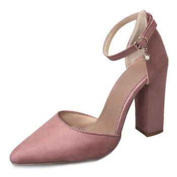 Ankle Strap Chunky Heel Pumps - PINK 39