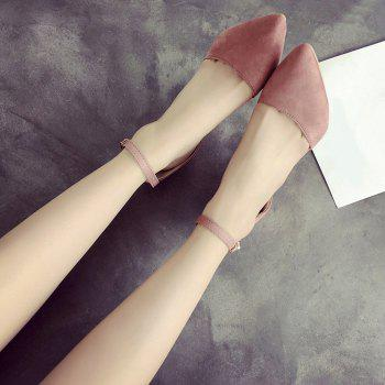 Ankle Strap Chunky Heel Pumps - PINK 40