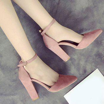 Ankle Strap Chunky Heel Pumps - PINK 37