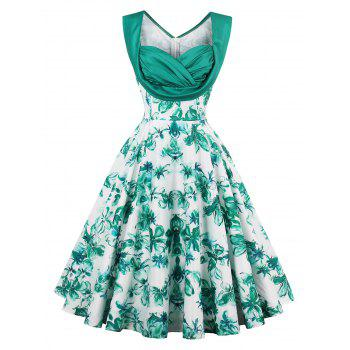 Sweetheart Neck Ruched High Waist Vintage Dress