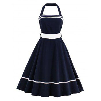 Halter Tie Waist Sailor Vintage Dress