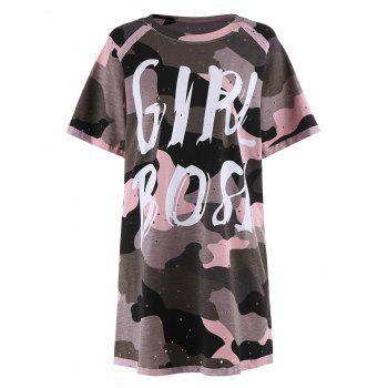 Plus Size Ripped Camouflage Print Tunic Tee