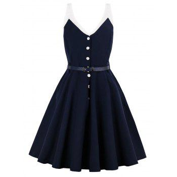 Sleeveless Half Button Belted Vintage Dress