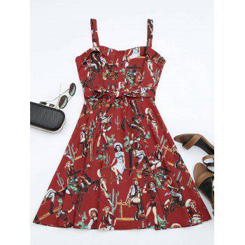 Printed Self-tie A Line Dress - RED L