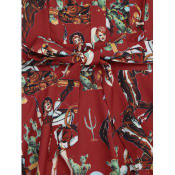 Printed Self-tie A Line Dress - RED XL