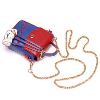 Chain Cartoon Pendants Crossbody Bag - Bleu et Rouge