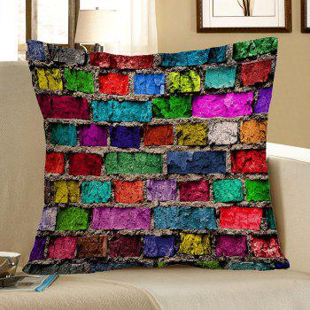 Colorful Brick Print Pillow Case
