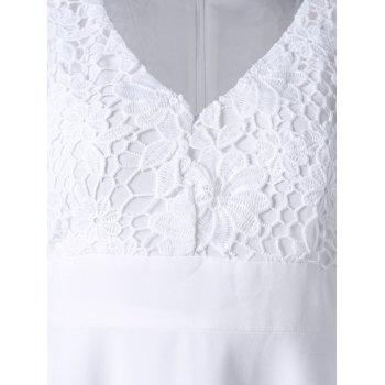 Lace Panel High Low Hem Flowy Dress - Blanc M