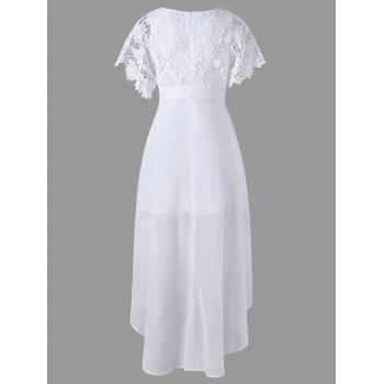Lace Panel High Low Hem Flowy Dress - WHITE WHITE