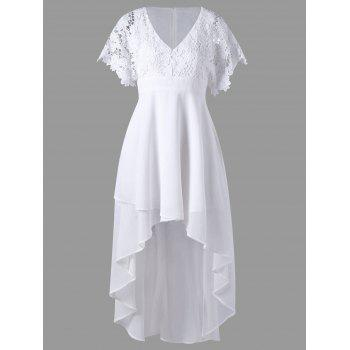 Lace Panel High Low Hem Flowy Dress