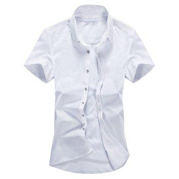 Button Down Short Sleeve Plain Shirt