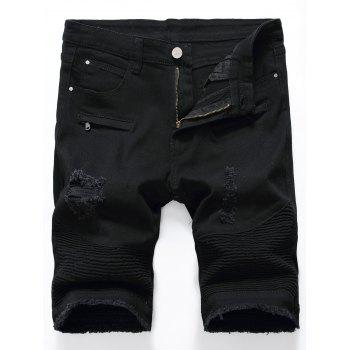Distressed Biker Denim Shorts with Frayed Hem