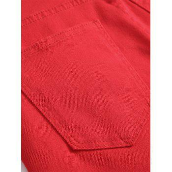 Frayed Hem Zip Detail Biker Denim Shorts - Rouge 38