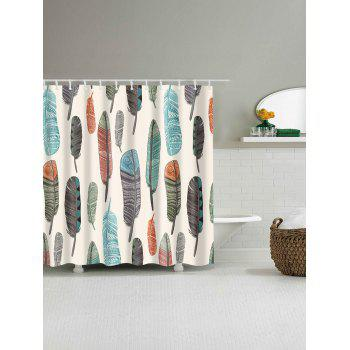 Mildew Resistant Art Feather Fabric Shower Curtain - APRICOT APRICOT