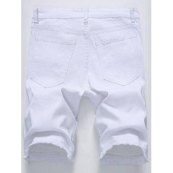 Frayed Hem Zip Detail Biker Denim Shorts - Blanc 32