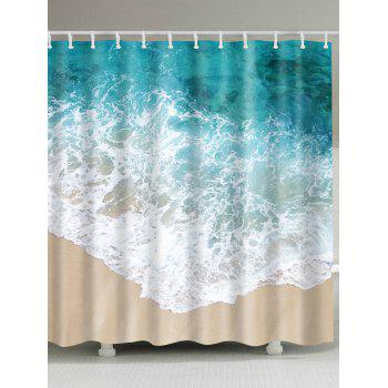 Sea Wave Waterproof Bathroom Shower Curtain - COLORMIX W71 INCH * L79 INCH