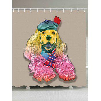 Dog in Hat Waterproof Fabric Shower Curtain