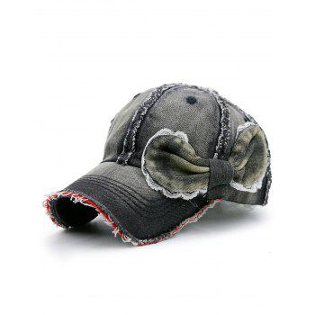 Denim Bowknot Embellished Artificial Sanding Baseball Cap