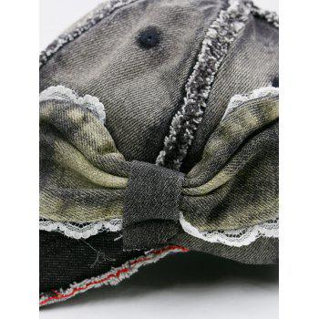 Denim Bowknot Embellished Artificial Sanding Baseball Cap -  BLACK GREY