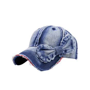 Denim Bowknot Embellished Artificial Sanding Baseball Cap - DEEP BLUE