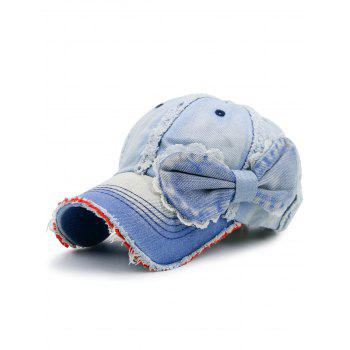 Denim Bowknot Embellished Artificial Sanding Baseball Cap - LIGHT BLUE LIGHT BLUE
