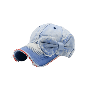 Denim Bowknot Embellished Artificial Sanding Baseball Cap -  LIGHT BLUE