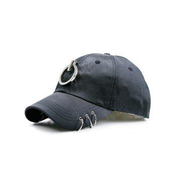 Metal Rings Embellished Baseball Hat - BLACK BLACK