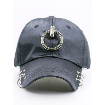 Metal Rings Embellished Baseball Hat -  BLACK