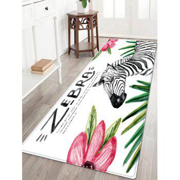 Zebra Floral Pattern Indoor Outdoor Area Rug - COLORMIX W24 INCH * L71 INCH