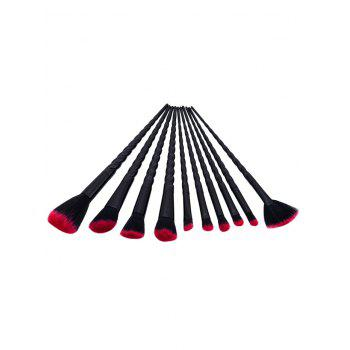 10Pcs Unicorn Tapered Shaped Makeup Brushes Set -  BLACK