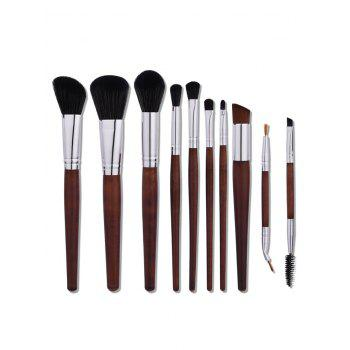 10Pcs Nylon Aluminum Tube Makeup Brushes Set - COFFEE COFFEE