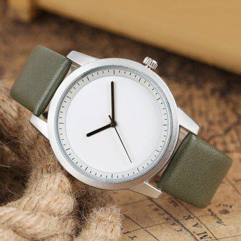 PU Leather Strap Quartz Analog Watch - GREEN