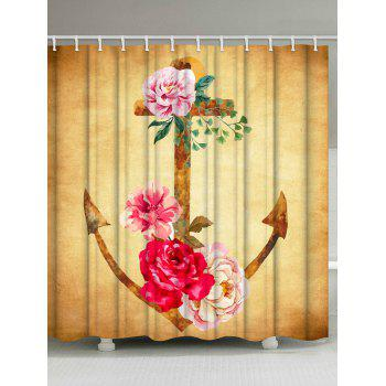 Water Repellent Vintage Floral Anchor Shower Curtain - EARTHY EARTHY