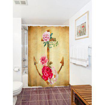 Water Repellent Vintage Floral Anchor Shower Curtain - EARTHY W71 INCH * L79 INCH