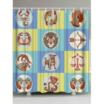 12 Constellation Eco-Friendly Fabric Shower Curtain - COLORMIX W59 INCH * L71 INCH