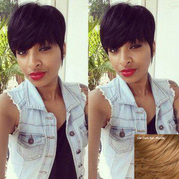 Fluffy Human Hair Full Bang Short Wig For Women