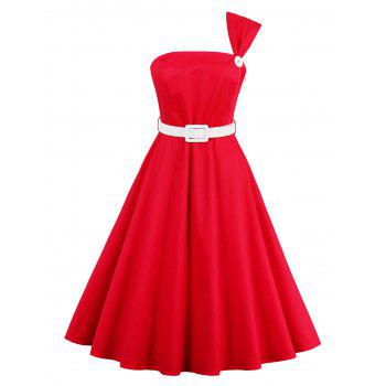 High Waist One Shoulder Vintage Dress - RED RED