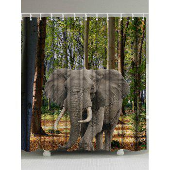 Thicker Forest Elephant Washable Fabric Shower Curtain