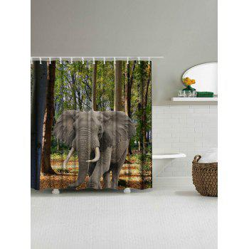 Thicker Forest Elephant Washable Fabric Shower Curtain - COLORMIX W71 INCH * L79 INCH