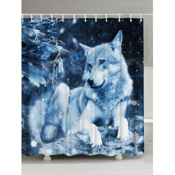 Snow Wolf Fabric Shower Curtain For Bathroom - DEEP BLUE W71 INCH * L79 INCH