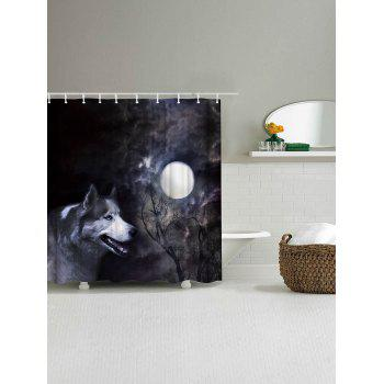 Moonlight Wolf Fabric Shower Curtain with Hooks - BLACK GREY W59 INCH * L71 INCH