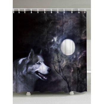 Moonlight Wolf Fabric Shower Curtain with Hooks - BLACK GREY W71 INCH * L79 INCH