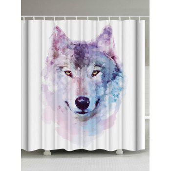 Watercolor Wolf Shower Curtain Bathroom Decor - WHITE W71 INCH * L79 INCH