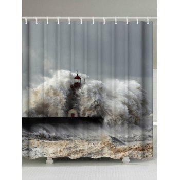 Waterproof Fabric Surge Lighthouse Shower Curtain - GRAY W71 INCH * L79 INCH