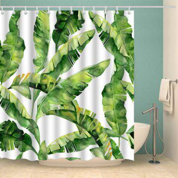 Waterproof Fabric Banana Leaf Shower Curtain - GREEN GREEN