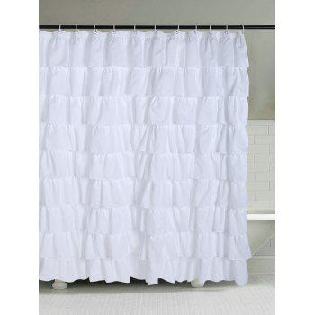 Ruffle Layers Design Polyester Bath Shower Curtain - WHITE W71 INCH * L71 INCH