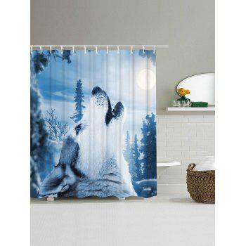 Bathroom Decor Snow Wolf Mouldproof Shower Curtain - ICE BLUE ICE BLUE