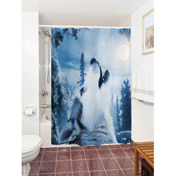 Bathroom Decor Snow Wolf Mouldproof Shower Curtain - ICE BLUE W71 INCH * L79 INCH